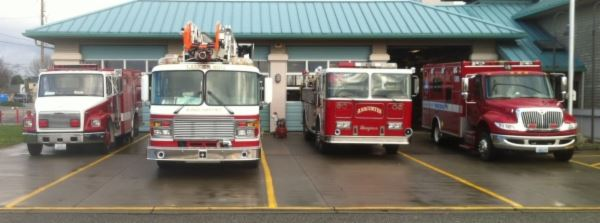 Fire trucks outside of station