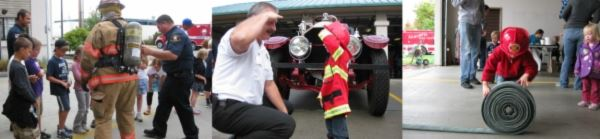 Firefighters teaching citizens and children